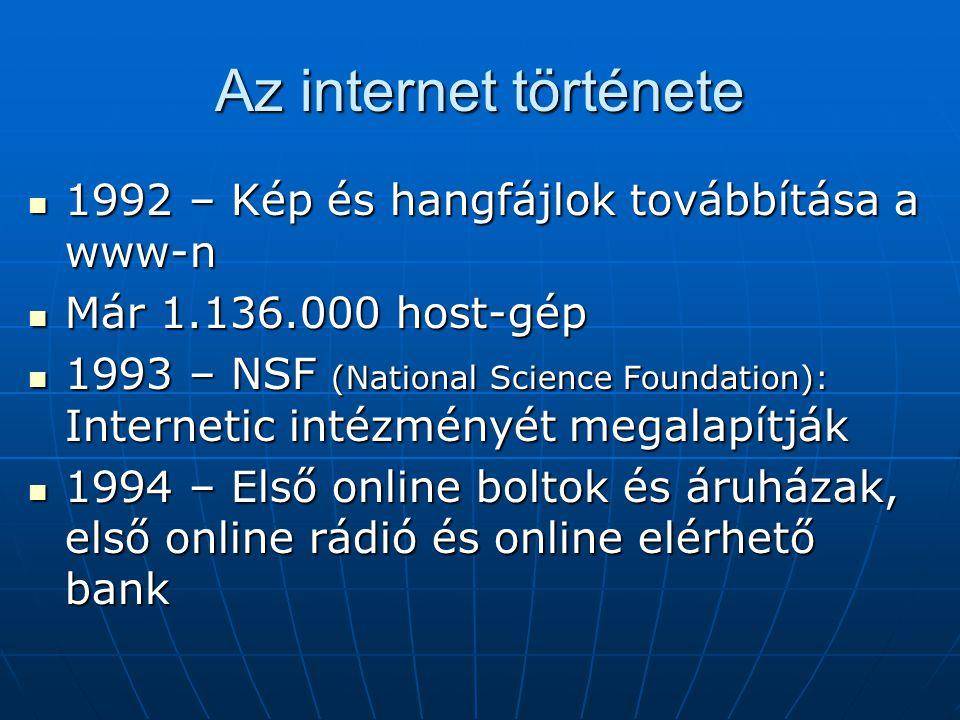 Az internet története  1992 – Kép és hangfájlok továbbítása a www-n  Már 1.136.000 host-gép  1993 – NSF (National Science Foundation): Internetic i
