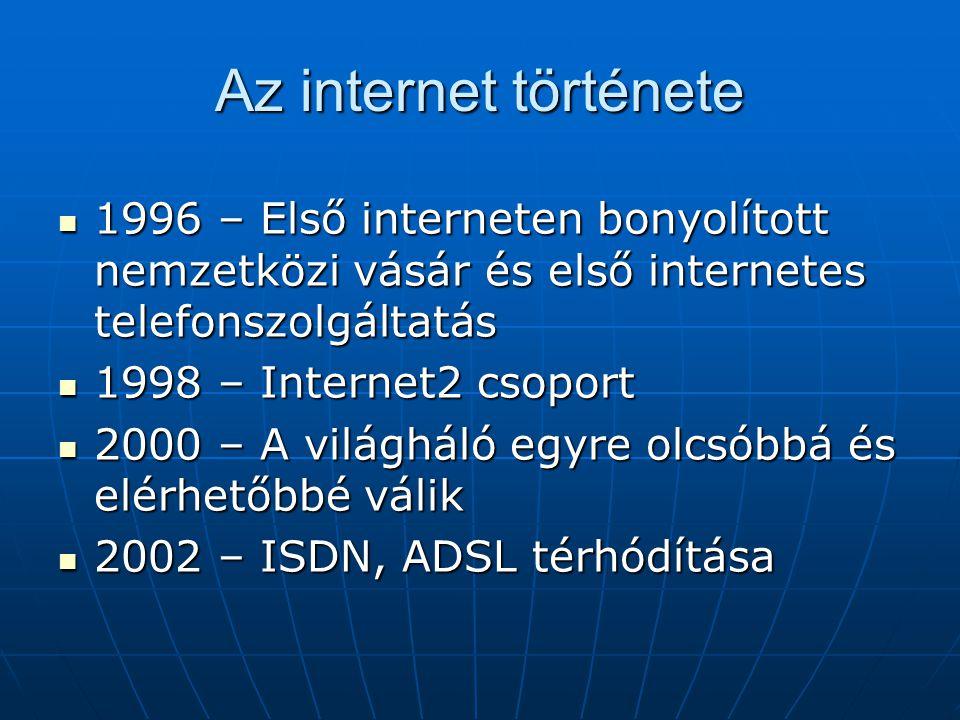 Az internet története  1996 – Első interneten bonyolított nemzetközi vásár és első internetes telefonszolgáltatás  1998 – Internet2 csoport  2000 –
