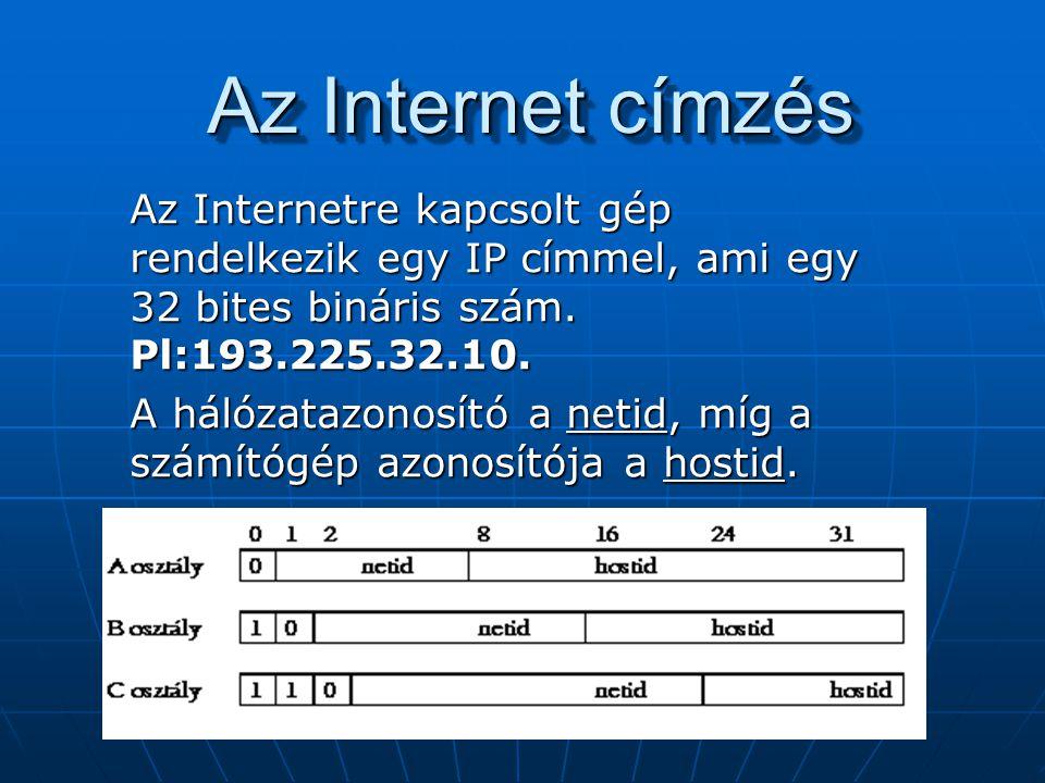 Az Internet címzés Az Internetre kapcsolt gép rendelkezik egy IP címmel, ami egy 32 bites bináris szám. Pl:193.225.32.10. A hálózatazonosító a netid,