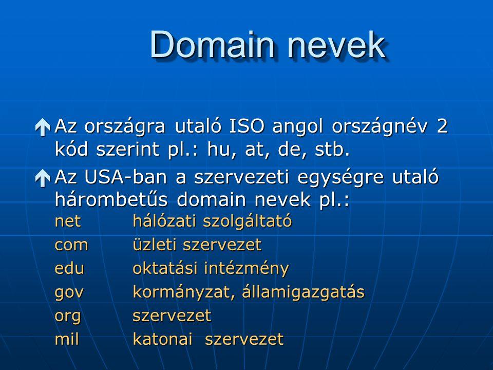 Domain nevek é Az országra utaló ISO angol országnév 2 kód szerint pl.: hu, at, de, stb. é Az USA-ban a szervezeti egységre utaló hárombetűs domain ne