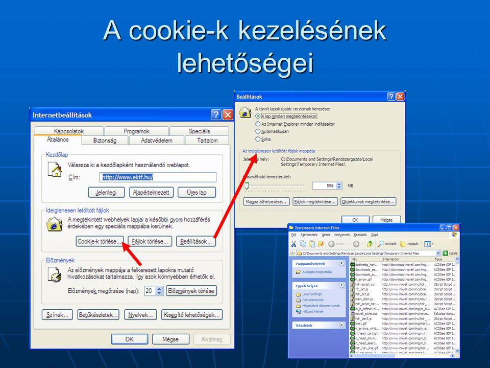 A cookie-k kezelésének lehetőségei