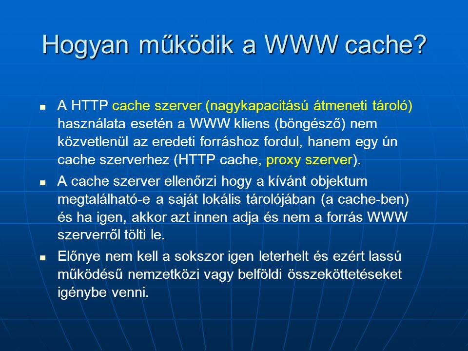 Hogyan működik a WWW cache?   A HTTP cache szerver (nagykapacitású átmeneti tároló) használata esetén a WWW kliens (böngésző) nem közvetlenül az ere