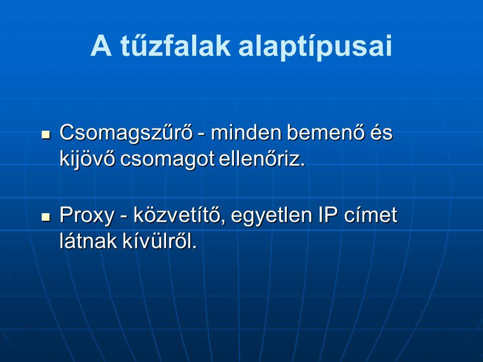 A tűzfalak alaptípusai  Csomagszűrő - minden bemenő és kijövő csomagot ellenőriz.  Proxy - közvetítő, egyetlen IP címet látnak kívülről.