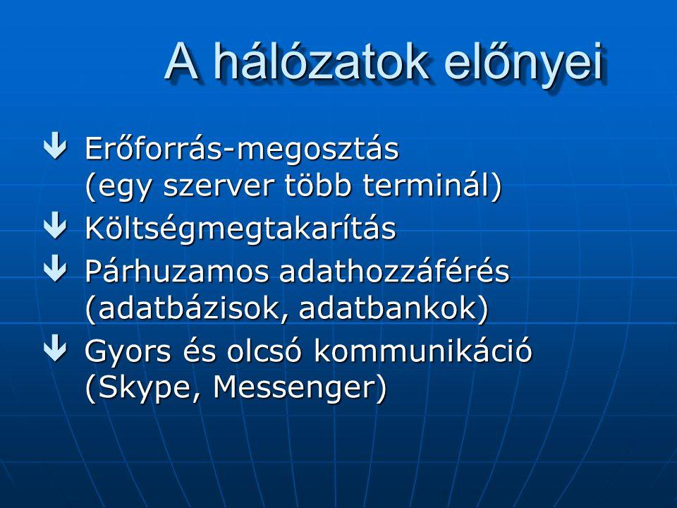 A hálózatok előnyei êErőforrás-megosztás (egy szerver több terminál) êKöltségmegtakarítás êPárhuzamos adathozzáférés (adatbázisok, adatbankok) êGyors