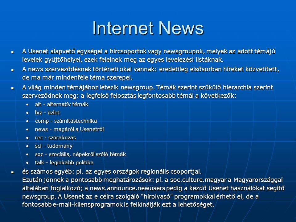Internet News  A Usenet alapvető egységei a hírcsoportok vagy newsgroupok, melyek az adott témájú levelek gyűjtőhelyei, ezek felelnek meg az egyes le
