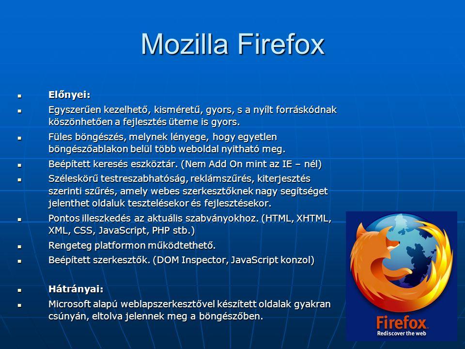 Mozilla Firefox  Előnyei:  Egyszerűen kezelhető, kisméretű, gyors, s a nyílt forráskódnak köszönhetően a fejlesztés üteme is gyors.  Füles böngészé