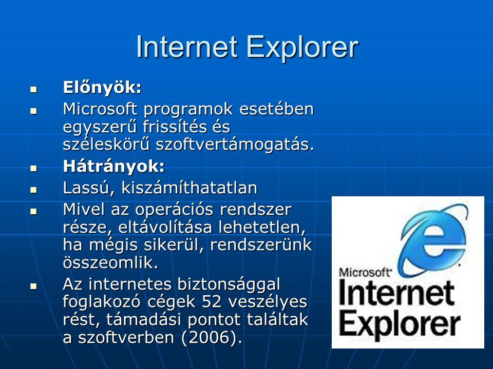 Internet Explorer  Előnyök:  Microsoft programok esetében egyszerű frissítés és széleskörű szoftvertámogatás.  Hátrányok:  Lassú, kiszámíthatatlan