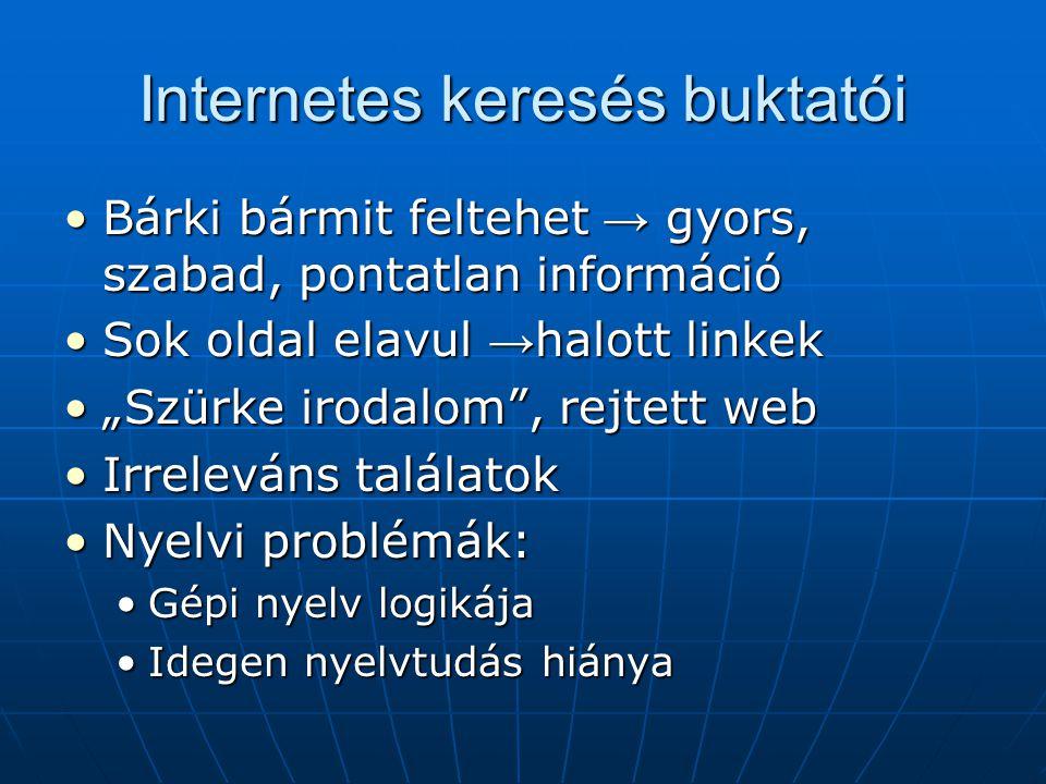 """Internetes keresés buktatói •Bárki bármit feltehet → gyors, szabad, pontatlan információ •Sok oldal elavul → halott linkek •""""Szürke irodalom"""", rejtett"""