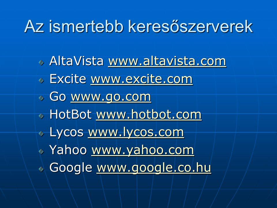 Az ismertebb keresőszerverek AltaVista www.altavista.com www.altavista.com Excite www.excite.com www.excite.com Go www.go.com www.go.com HotBot www.ho