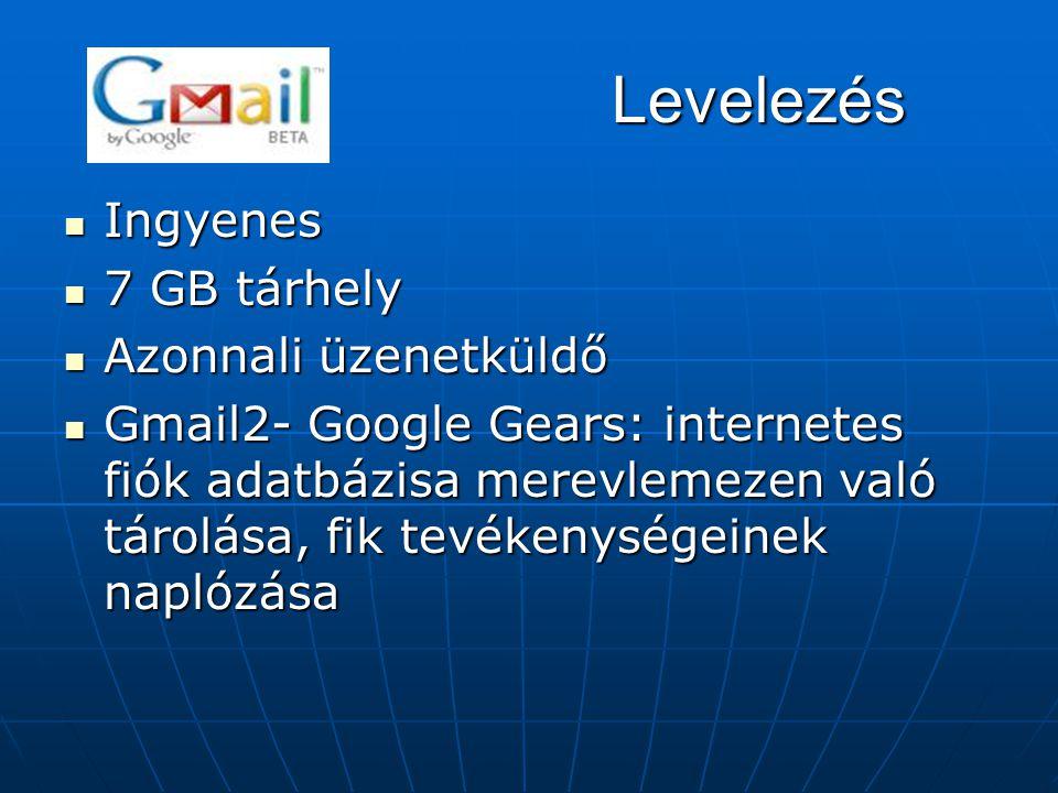 Levelezés  Ingyenes  7 GB tárhely  Azonnali üzenetküldő  Gmail2- Google Gears: internetes fiók adatbázisa merevlemezen való tárolása, fik tevékeny