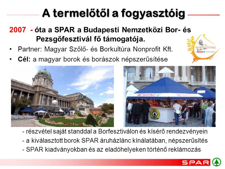 2007 - óta a SPAR a Budapesti Nemzetközi Bor- és Pezsgőfesztivál fő támogatója. •Partner: Magyar Szőlő- és Borkultúra Nonprofit Kft. •Cél: a magyar bo
