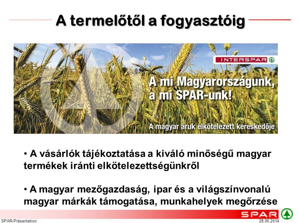28.06.2014SPAR-Präsentation • A vásárlók tájékoztatása a kiváló minőségű magyar termékek iránti elkötelezettségünkről • A magyar mezőgazdaság, ipar és