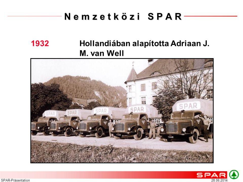 28.06.2014SPAR-Präsentation N e m z e t k ö z i S P A R 1932 Hollandiában alapította Adriaan J. M. van Well