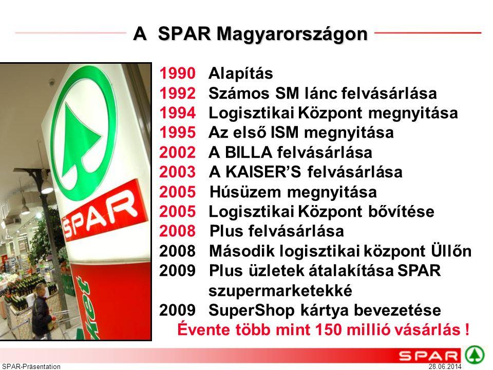 28.06.2014SPAR-Präsentation A SPAR Magyarországon 1990 Alapítás 1992 Számos SM lánc felvásárlása 1994Logisztikai Központ megnyitása 1995 Az első ISM m