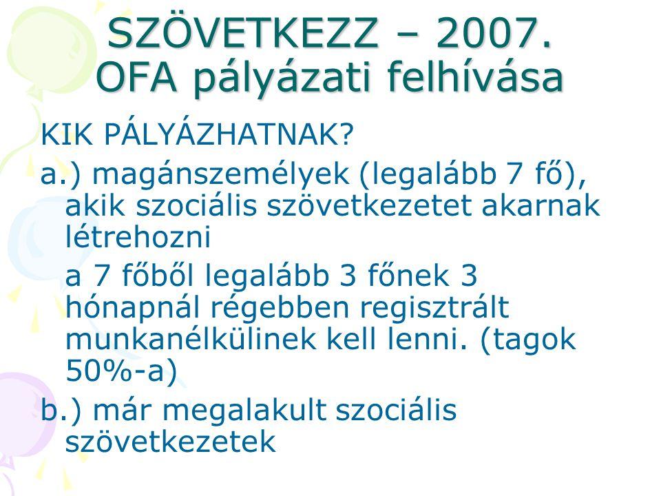 SZÖVETKEZZ – 2007.OFA pályázati felhívása KIK PÁLYÁZHATNAK.