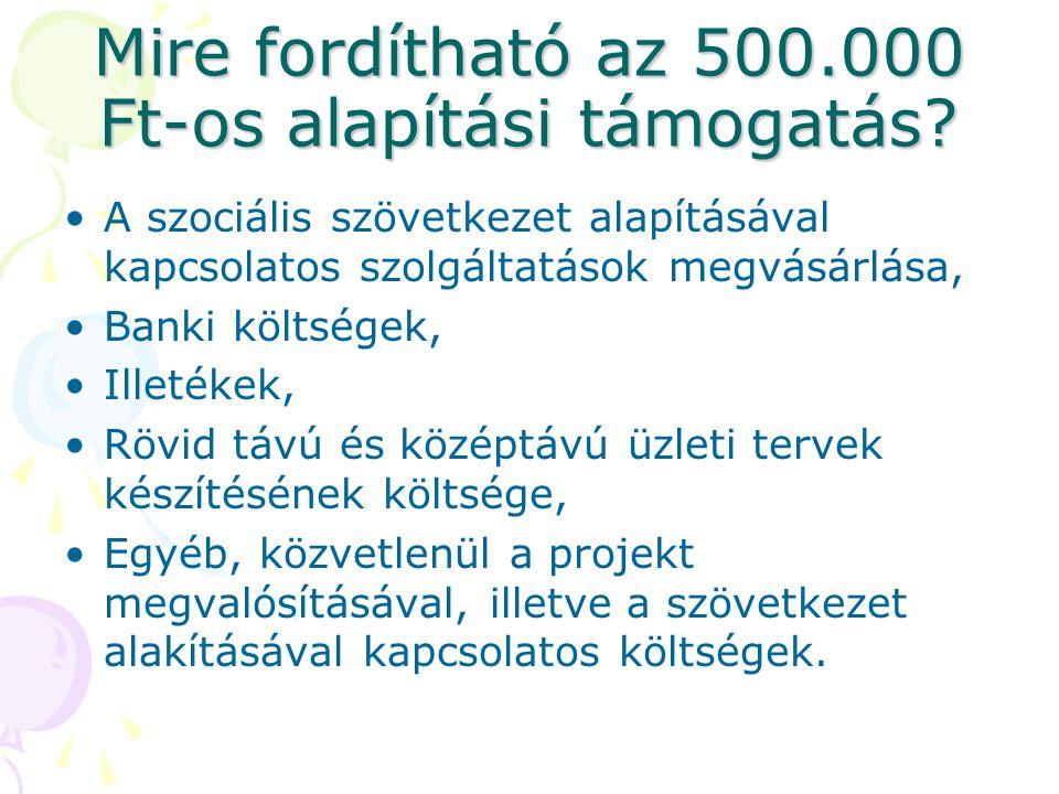 Mire fordítható az 500.000 Ft-os alapítási támogatás.