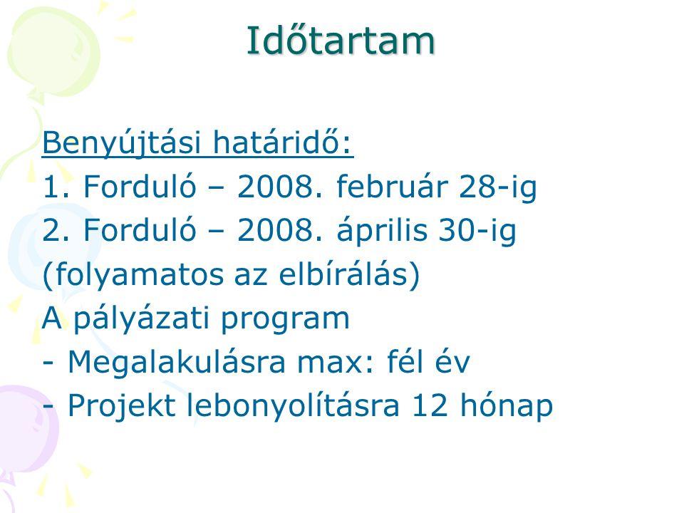 Időtartam Benyújtási határidő: 1.Forduló – 2008. február 28-ig 2.