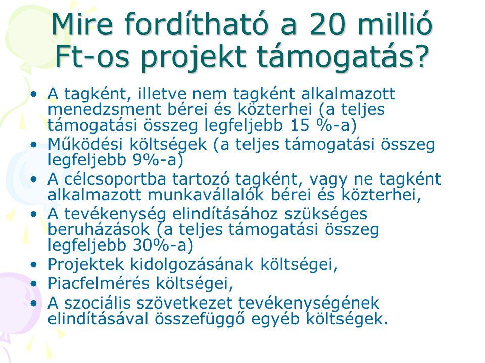 Mire fordítható a 20 millió Ft-os projekt támogatás.