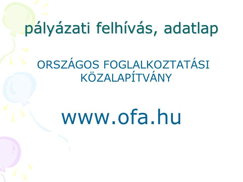 pályázati felhívás, adatlap ORSZÁGOS FOGLALKOZTATÁSI KÖZALAPÍTVÁNY www.ofa.hu