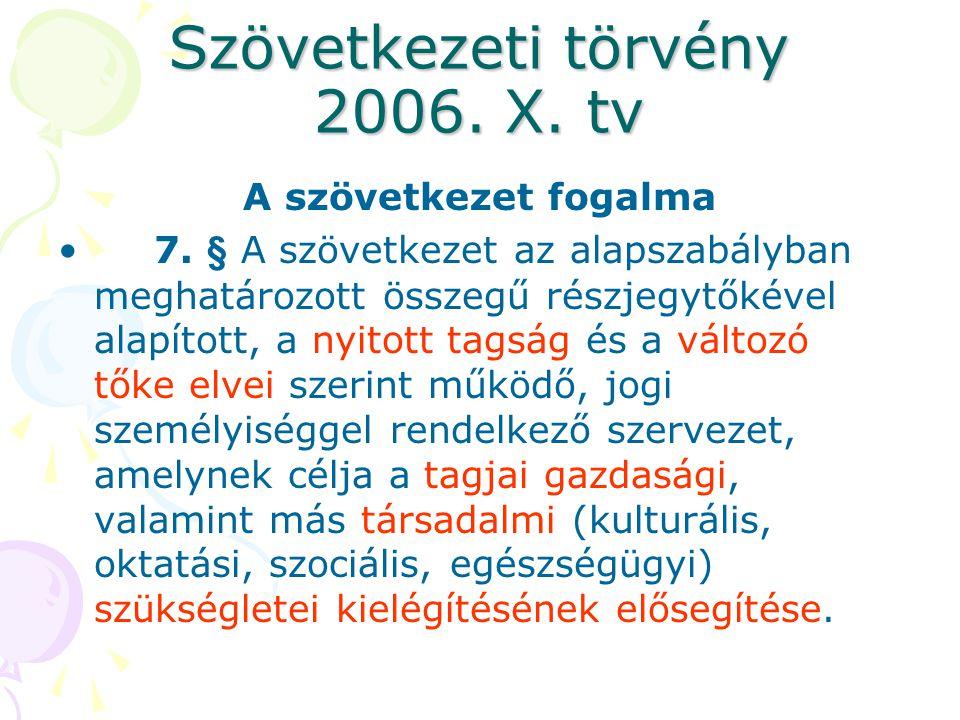 Szövetkezeti törvény 2006.X. tv A szövetkezet fogalma •7.