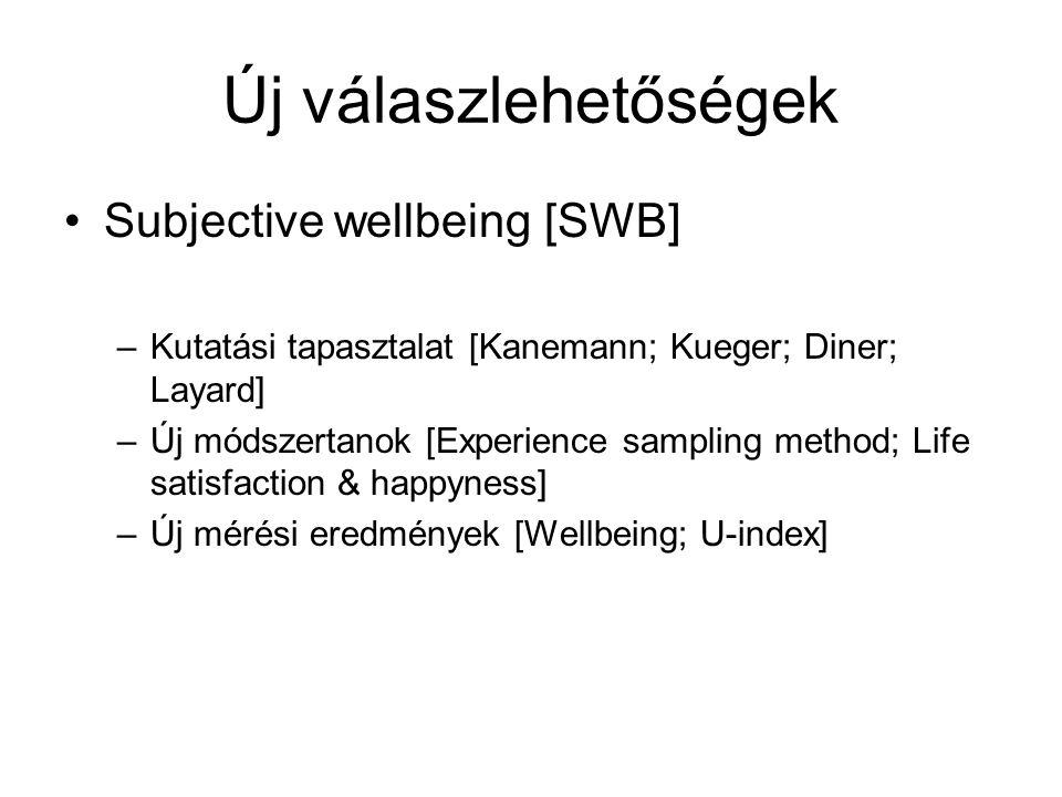Új válaszlehetőségek •Subjective wellbeing [SWB] –Kutatási tapasztalat [Kanemann; Kueger; Diner; Layard] –Új módszertanok [Experience sampling method; Life satisfaction & happyness] –Új mérési eredmények [Wellbeing; U-index]