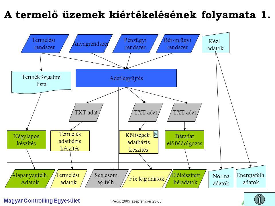 Magyar Controlling Egyesület Pécs, 2005 szeptember 29-30 A termelő üzemek kiértékelésének folyamata 1.