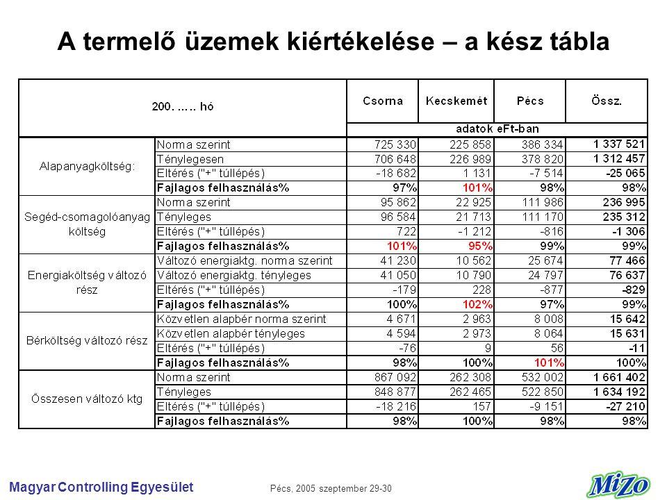 Magyar Controlling Egyesület Pécs, 2005 szeptember 29-30 A termelő üzemek kiértékelése – a kész tábla