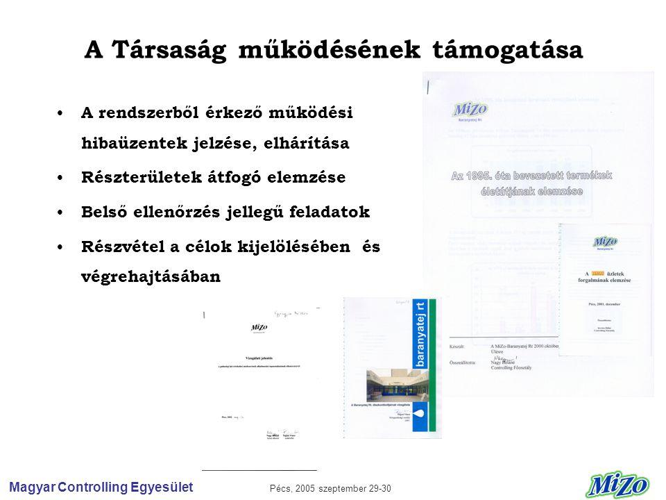 Magyar Controlling Egyesület Pécs, 2005 szeptember 29-30 A Társaság működésének támogatása • A rendszerből érkező működési hibaüzentek jelzése, elhárítása • Részterületek átfogó elemzése • Belső ellenőrzés jellegű feladatok • Részvétel a célok kijelölésében és végrehajtásában