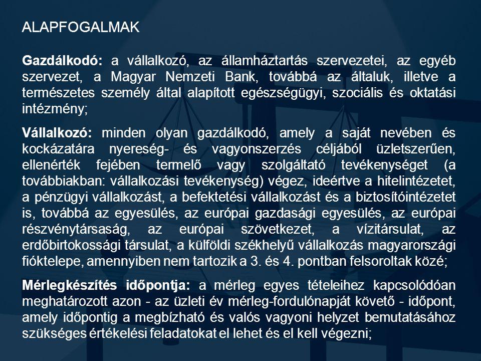 ALAPFOGALMAK Gazdálkodó: a vállalkozó, az államháztartás szervezetei, az egyéb szervezet, a Magyar Nemzeti Bank, továbbá az általuk, illetve a termész