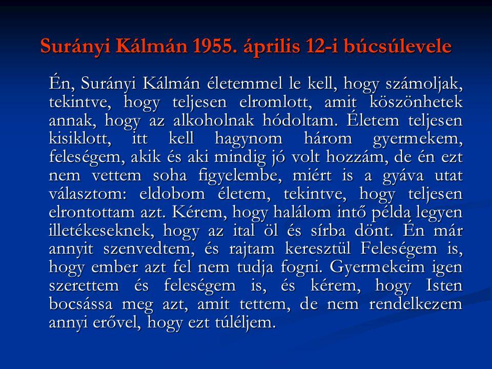 Surányi Kálmán 1955. április 12-i búcsúlevele Én, Surányi Kálmán életemmel le kell, hogy számoljak, tekintve, hogy teljesen elromlott, amit köszönhete