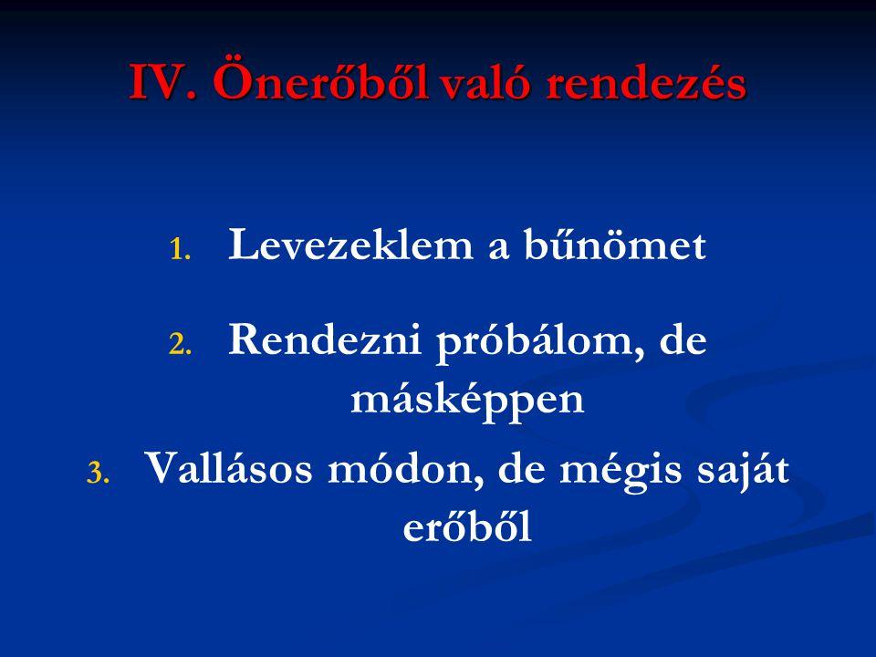 IV. Önerőből való rendezés 1. 1. Levezeklem a bűnömet 2. 2. Rendezni próbálom, de másképpen 3. 3. Vallásos módon, de mégis saját erőből