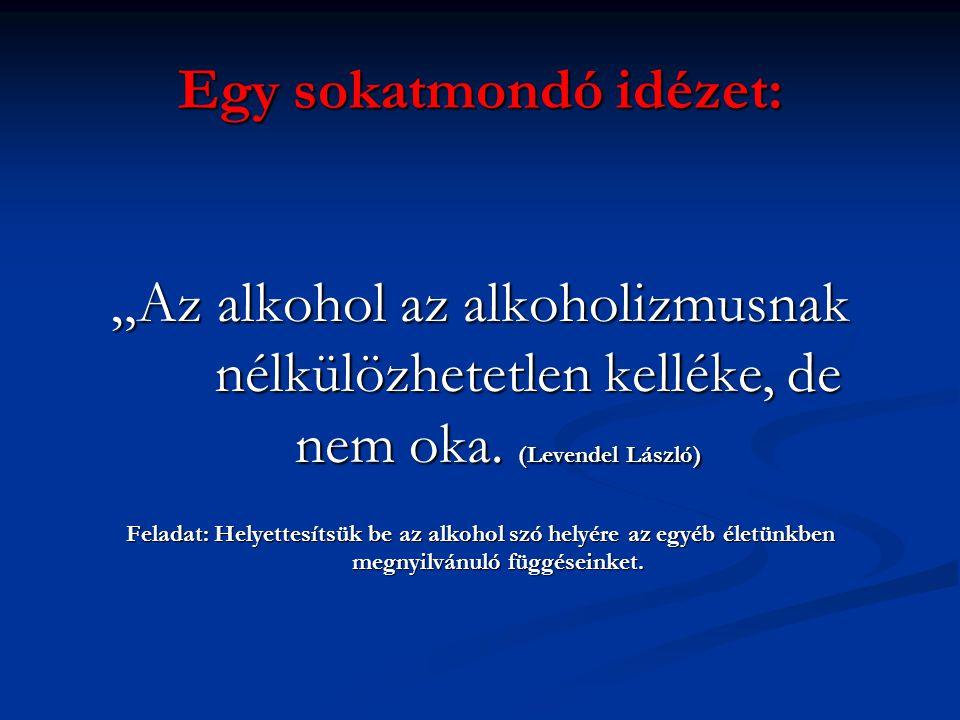 """Egy sokatmondó idézet: """"Az alkohol az alkoholizmusnak nélkülözhetetlen kelléke, de nem oka. (Levendel László) Feladat: Helyettesítsük be az alkohol sz"""