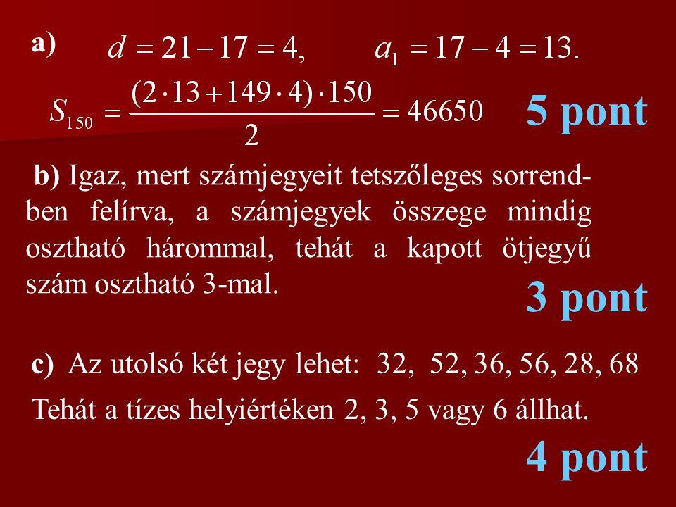 a) 5 pont b) Igaz, mert számjegyeit tetszőleges sorrend- ben felírva, a számjegyek összege mindig osztható hárommal, tehát a kapott ötjegyű szám osztható 3-mal.