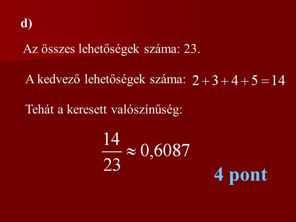 d) Az összes lehetőségek száma: 23. A kedvező lehetőségek száma: Tehát a keresett valószínűség: 4 pont