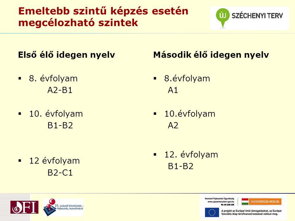 Emeltebb szintű képzés esetén megcélozható szintek Első élő idegen nyelv  8.