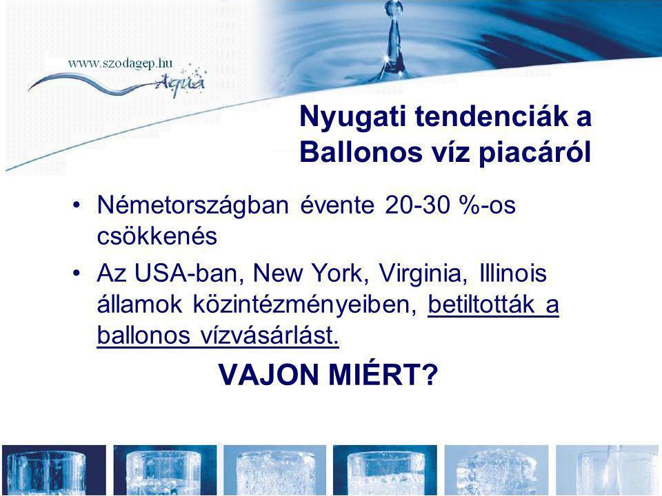 •Németországban évente 20-30 %-os csökkenés •Az USA-ban, New York, Virginia, Illinois államok közintézményeiben, betiltották a ballonos vízvásárlást.