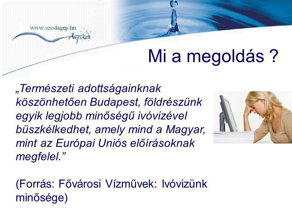 """Mi a megoldás ? """"Természeti adottságainknak köszönhetően Budapest, földrészünk egyik legjobb minőségű ivóvizével büszkélkedhet, amely mind a Magyar, m"""