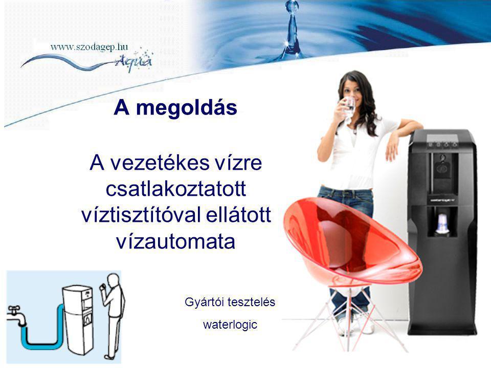 A megoldás A vezetékes vízre csatlakoztatott víztisztítóval ellátott vízautomata Gyártói tesztelés waterlogic