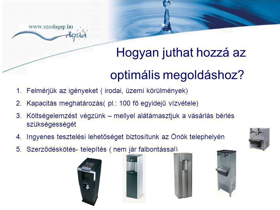 Hogyan juthat hozzá az optimális megoldáshoz? 1.Felmérjük az igényeket ( irodai, üzemi körülmények) 2.Kapacitás meghatározás( pl.: 100 fő egyidejű víz