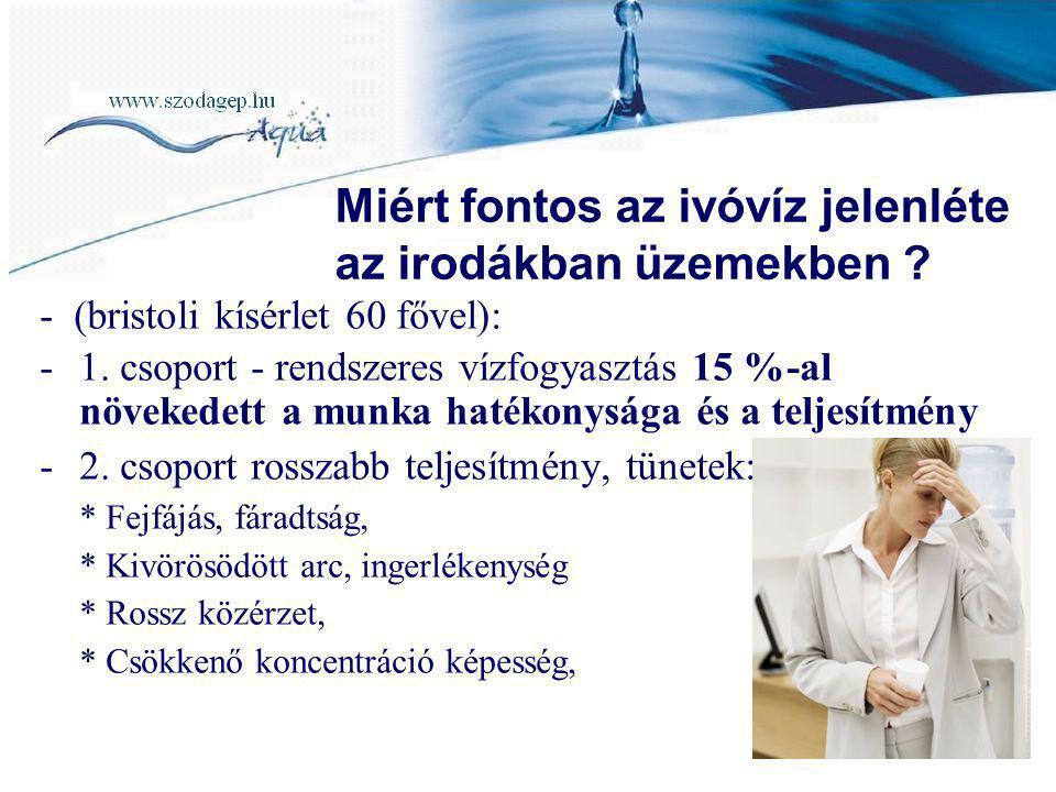 - (bristoli kísérlet 60 fővel): -1. csoport - rendszeres vízfogyasztás 15 %-al növekedett a munka hatékonysága és a teljesítmény -2. csoport rosszabb