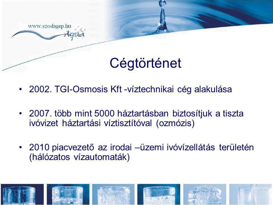 Cégtörténet •2002. TGI-Osmosis Kft -víztechnikai cég alakulása •2007. több mint 5000 háztartásban biztosítjuk a tiszta ivóvizet háztartási víztisztító