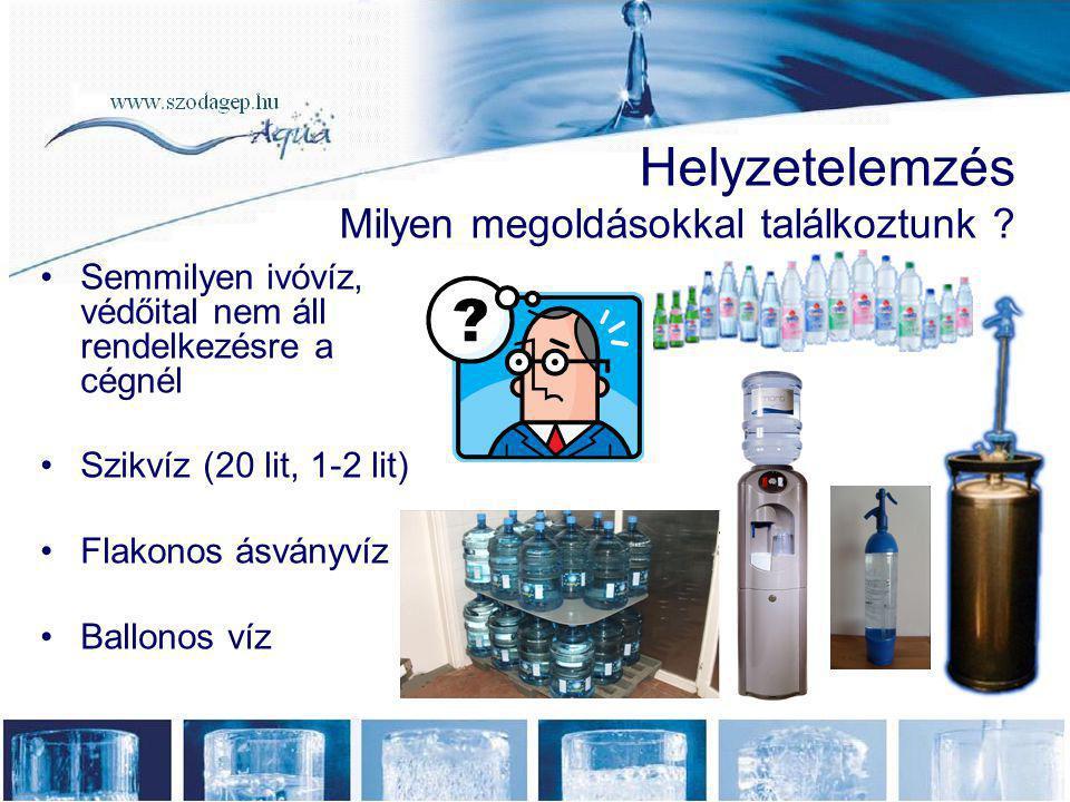 Helyzetelemzés Milyen megoldásokkal találkoztunk ? •Semmilyen ivóvíz, védőital nem áll rendelkezésre a cégnél •Szikvíz (20 lit, 1-2 lit) •Flakonos ásv