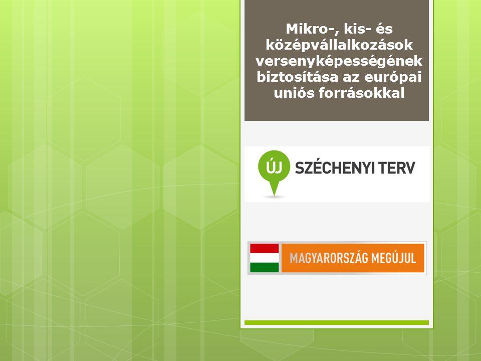 Elérhető támogatások vállalkozásoknak Közlekedésfejlesztési Program logisztikai szolgáltatás,kerékpárutak, Foglalkoztatási Program HH foglalkoztatás Vállalkozásfejlesztési Program GOP, TÁMOP, KMOP, Klaszter Zöldgazdaság-fejlesztési Program KEOP Gyógyító Magyarország – Egészségipari Program (turisztika, egészségügy) Tudomány – Innováció Program K+F, innováció 2011-2013