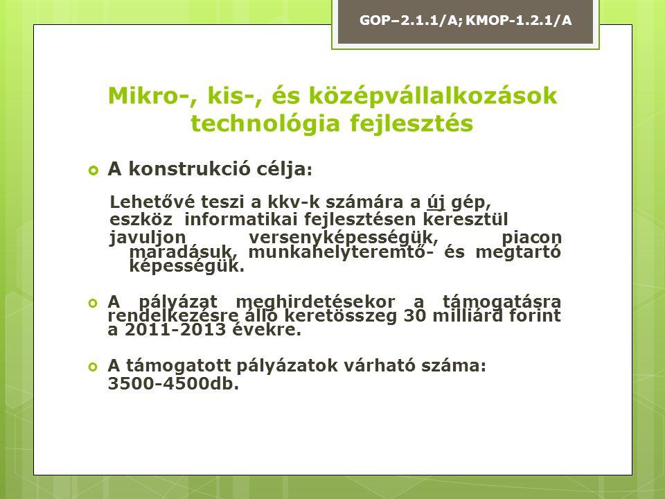  Közép-Magyarország nem pályázhat  Elnyerhető támogatás mértéke: 1 M – max.