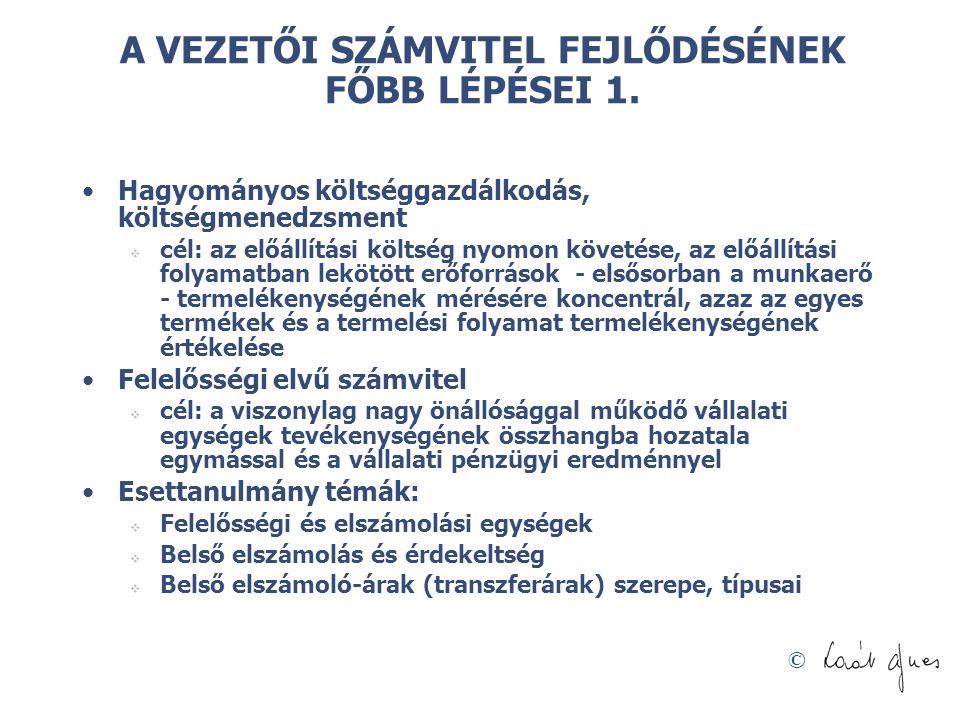 © A VEZETŐI SZÁMVITEL FEJLŐDÉSÉNEK FŐBB LÉPÉSEI 1.
