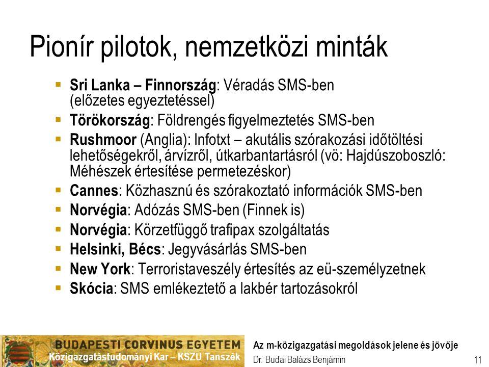Közigazgatástudományi Kar – KSZU Tanszék Dr. Budai Balázs Benjámin Az m-közigazgatási megoldások jelene és jövője 11 Pionír pilotok, nemzetközi minták
