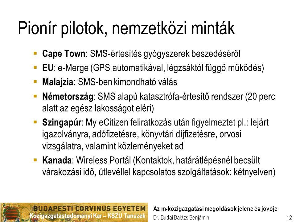 Közigazgatástudományi Kar – KSZU Tanszék Dr. Budai Balázs Benjámin Az m-közigazgatási megoldások jelene és jövője 12 Pionír pilotok, nemzetközi minták