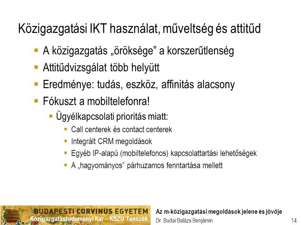 Közigazgatástudományi Kar – KSZU Tanszék Dr. Budai Balázs Benjámin Az m-közigazgatási megoldások jelene és jövője 14 Közigazgatási IKT használat, műve