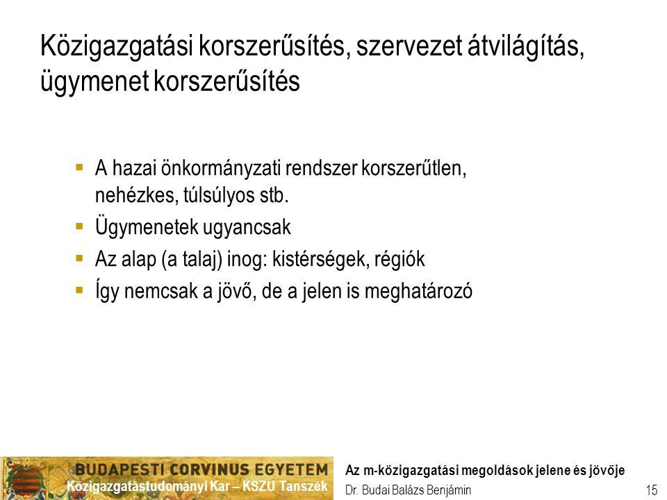 Közigazgatástudományi Kar – KSZU Tanszék Dr. Budai Balázs Benjámin Az m-közigazgatási megoldások jelene és jövője 15 Közigazgatási korszerűsítés, szer