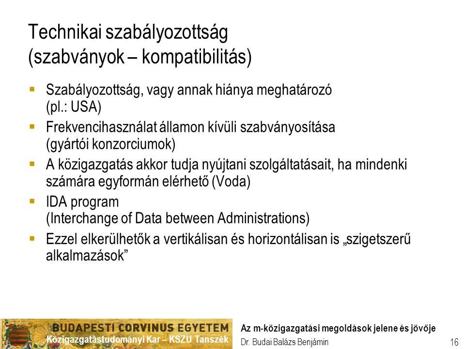 Közigazgatástudományi Kar – KSZU Tanszék Dr. Budai Balázs Benjámin Az m-közigazgatási megoldások jelene és jövője 16 Technikai szabályozottság (szabvá